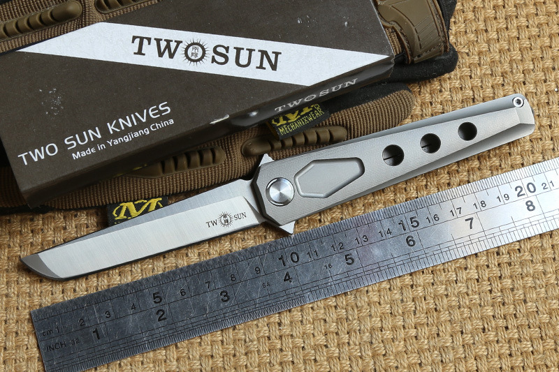 TWO SUN TS44 Flipper ball brearing folding knife D2 blade titanium camping hunting Pocket knives outdoor Survival EDC Tools two sun ts38 d2 blade tactical ball brearing folding knife titanium camping hunting pocket knives outdoor survival edc tools