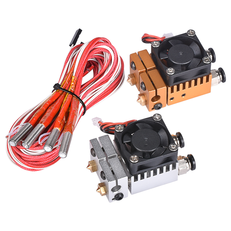 3D Chimera Hotend Kit Dual Color 2 IN 2 OUT Extruder Multi-extrusion All metal V6 Dual Extruder 0.4mm/1.75mm 3D printer part hot 3d printer v6 cyclops dual head kit 2 in 1 out tl feeder bowden splitter multi feeder system with with titan extruder