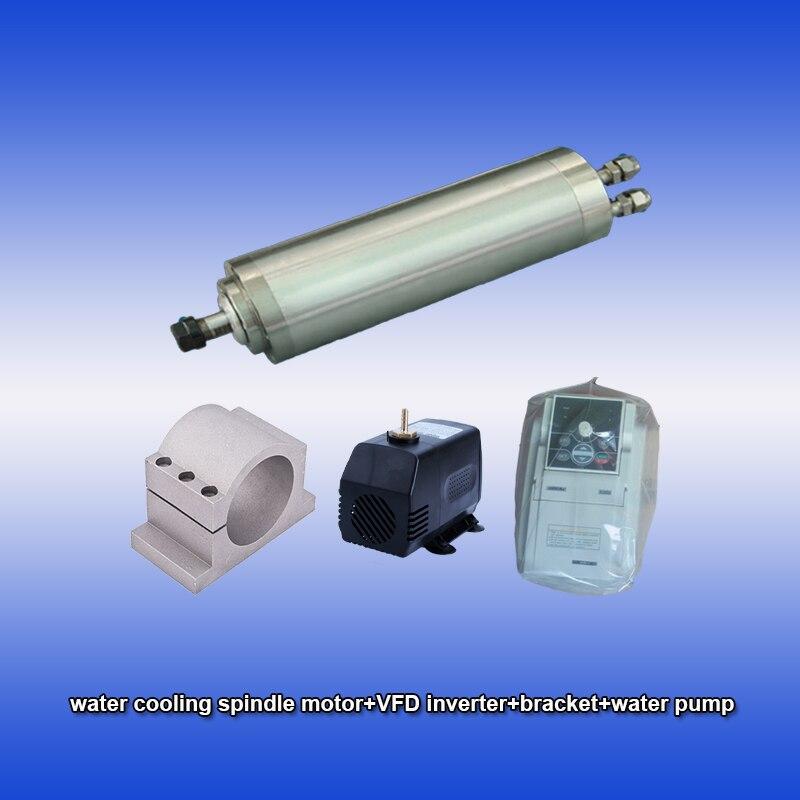 40000 tr/min 0.8kw ER11 refroidissement par eau précision haute vitesse moteur de broche et SUNFAR 1.5KW 1 phase 220 v onduleur et support et kits de CNC de pompe