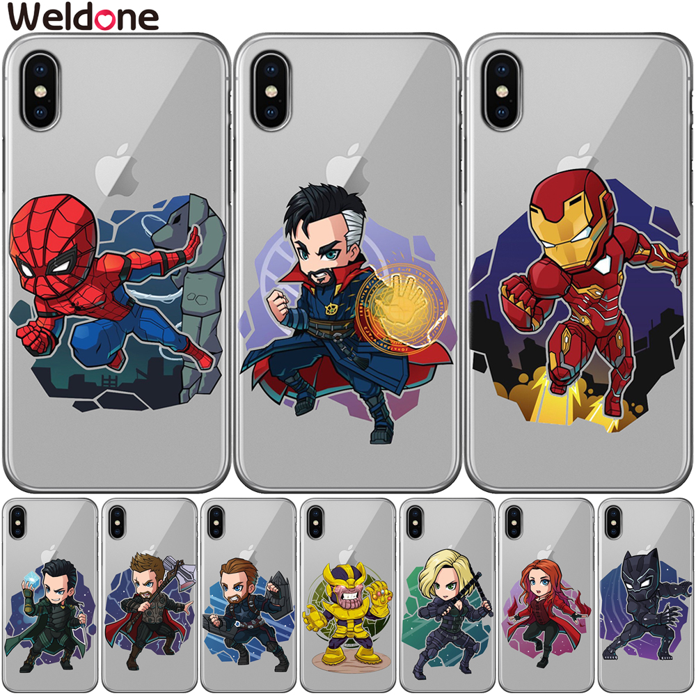 Cool Marvel The Avengers Case For iPhone XS Max XR X 7 6s 8 Plus xs 5S SE avengers ironMan Spiderman Silicone Cases Covers Etui