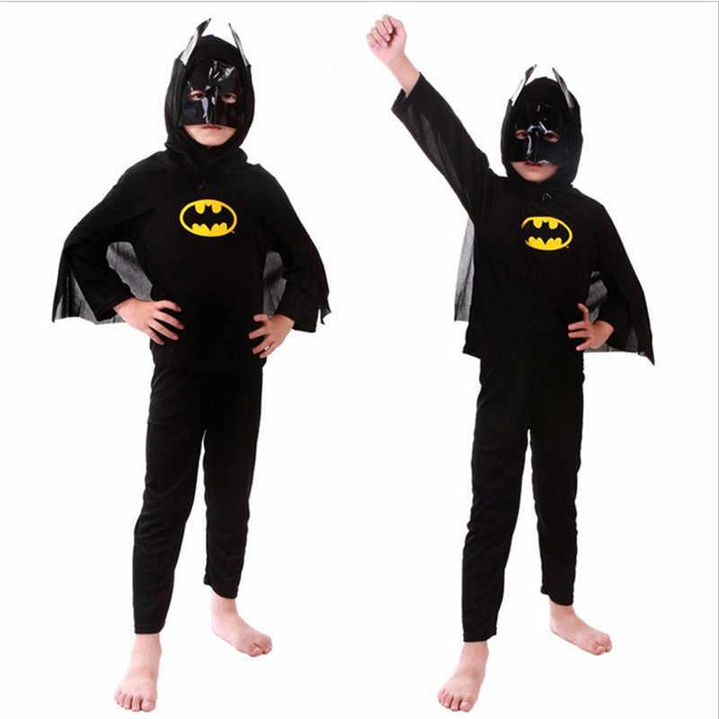 Хэллоуин красный костюм Человека-паука черный человек паук Бэтмен костюмы Супермена для детей супергероя накидки аниме косплэй карнавальный костюм