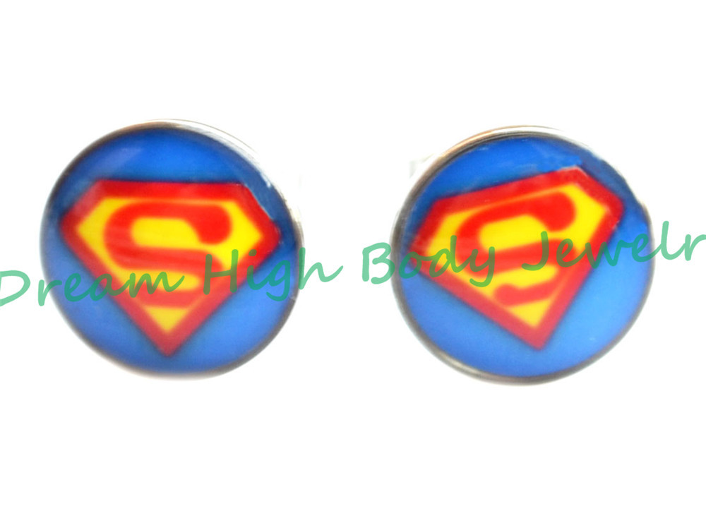 10mm Superman Ear Stud Nail 316L Stainless Steel Design Pin With Butterfly 100pcs/lot Ear Ring Earring For Women Girl
