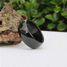 Мужской и Женский модели натуральный черный агат нефрит тонкое нефритовое кольцо палец кольцо натуральная статья Скидки