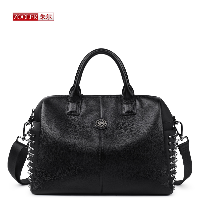 ZOOLER 2017 New Woman Handbags Vintage Rivet Top-Handle Shoulder Bag Tote Black Ladies famous brand Real leather  bags# D-2380 almost famous new black tough love sweater msrp $49 00