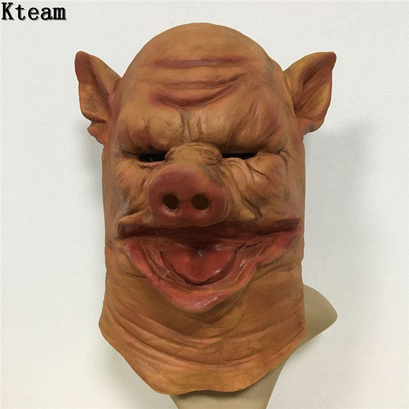 Newest Horror Pig Head Mask Halloween Party Cosplay Scary Pig Mask Fancy dress Accessory Overhead Jigsaw pig mask animal costume