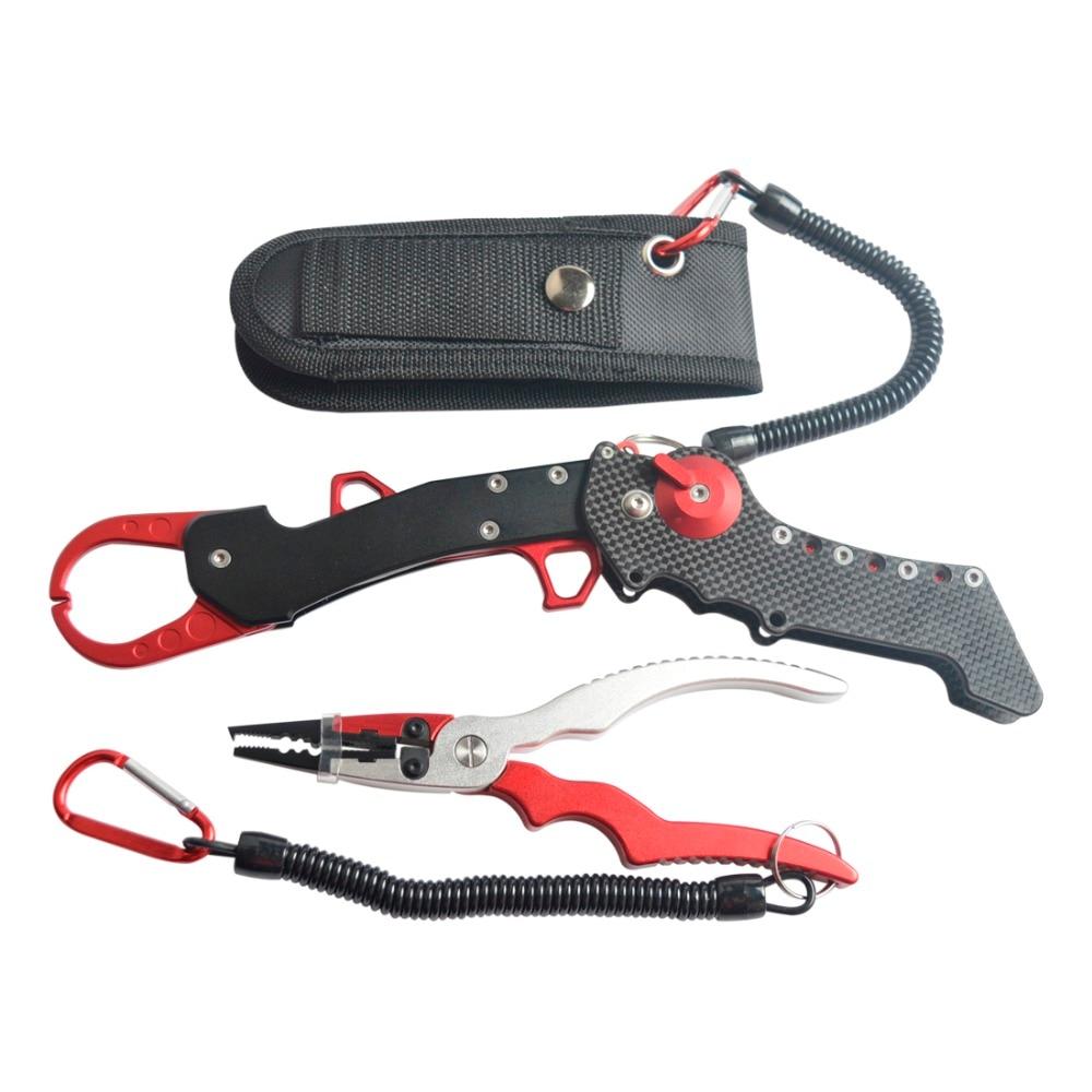 2017 New Multifunctional Aluminium Fishing Pliers+Folding Fishing Grip Stainless Steel Fish Controller Fishing Tackle Tool Set