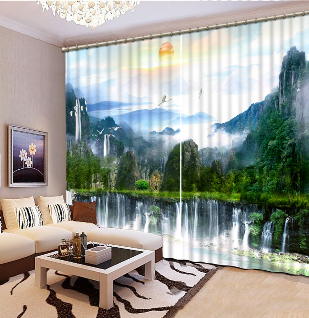 Home Decor China: Home Decor Chinese Curtains Photo Nature Landscape Modern