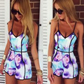 Summer Style Women Print macacao feminino Slim Fit Deep V Sleeveless Flower Vest Shorts playsuit Plus Size Rompers Jumpsuit