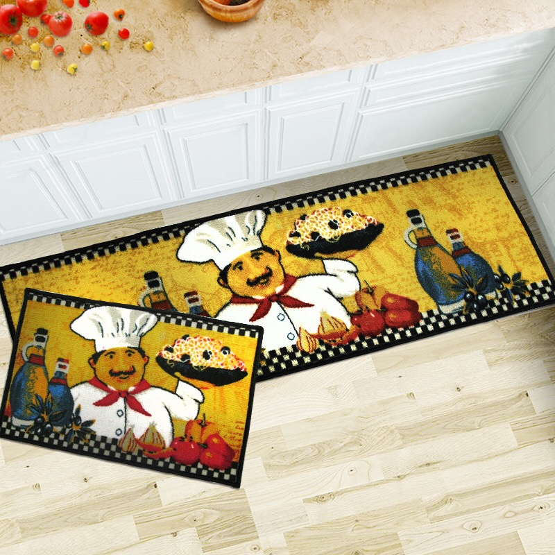 Europe Kitchen Mats Chef Printed Nylon Bathroom Kitchen Carpet 40 60cm 40 120cm set House Doormats for Living Room Anti Slip Rug Plan - Beautiful yellow kitchen rugs New Design