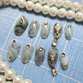 24pcs/set latest gray marble element metal charm Acrylic resin full cover False Nail resin Fake Nails art Tips Sticker with GLUE