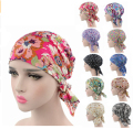 women turban Cotton head wrap various printing Design Pre Tied Fitted Bandana Head Scarf bandit cap