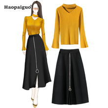 Solid Two Piece Set Women Suits Autumn Winter 2018 Suit Yellow Halt Sweate Top and Pleated Skirt 2 Casual