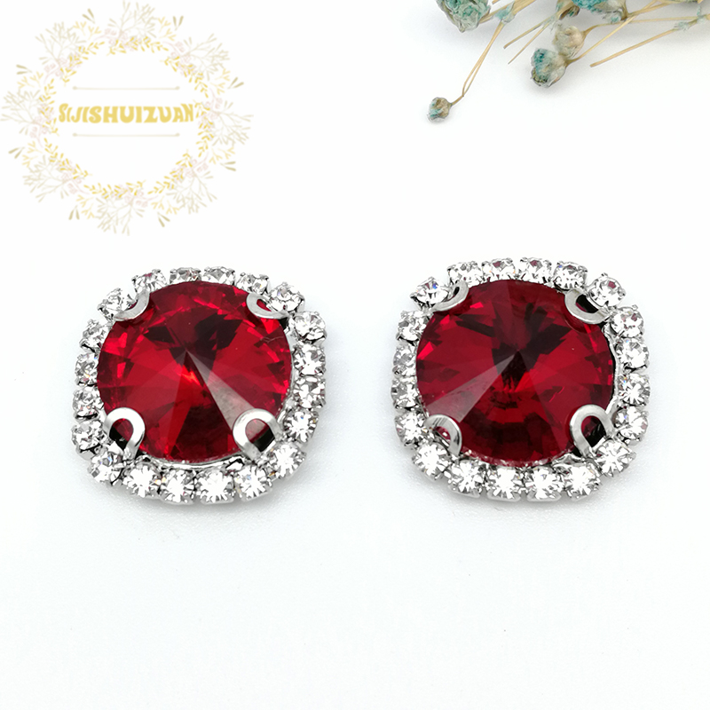 Red ROUND Glass Crystal sew on rhinestones with Crystal buckle claw Diy wedding dress accessories Free shipping image