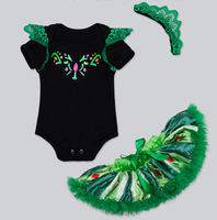 Free Shipping Wholesale Newest Toddlers Short Sleeve Bodysuits Hair Band Bow Skirt 3pc Set