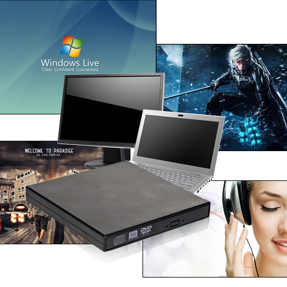 External DVD Burner Drive USB Data Cable DVD RW Portable External Black CD DVD RW