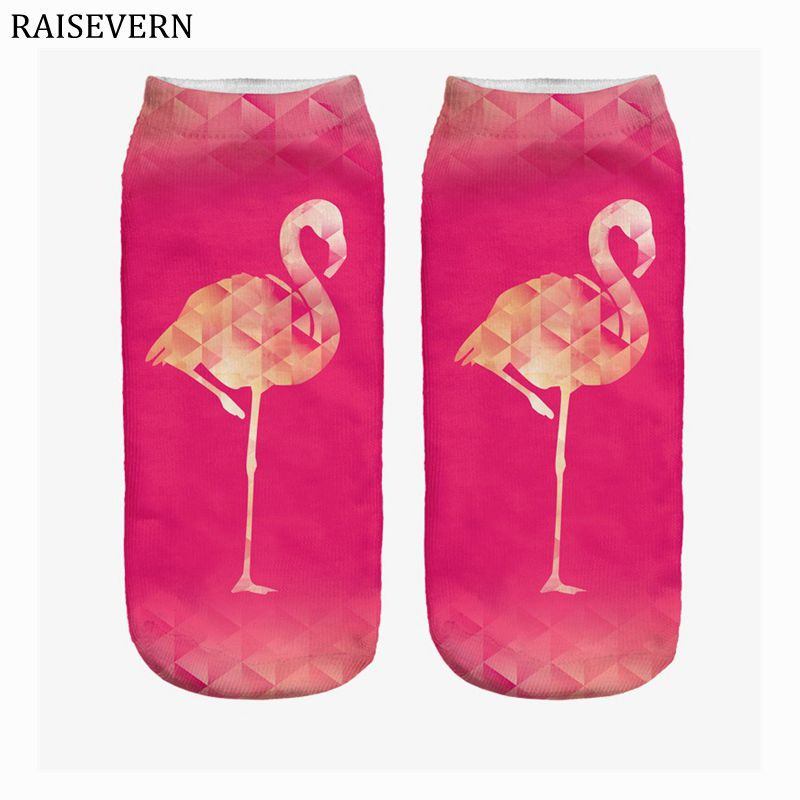 New Socks Cotton Flamingos Harajuku 3D Print Men Kawaii Ankle Calcetines Femme New Mujer Summer Funny Men Socks Rore Red Unisex