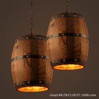 Лофт американский село деревянный бочонок вина подвесной светильник ствола ковша столовая спальня E27 Светильник Висячие освещение