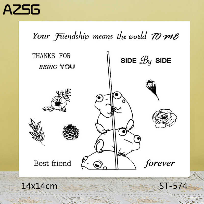 AZSG mejor amigo encantador ranas claro sellos/sellos para bricolaje Scrapbooking tarjeta/Álbum de silicona sello artesanía