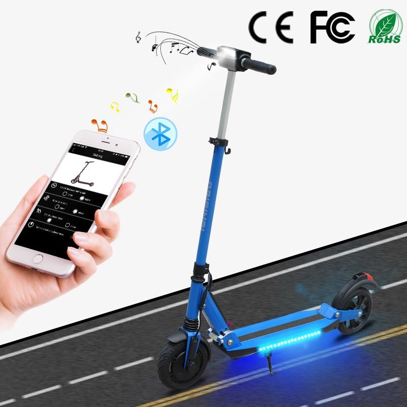 SUPERTEFF EW4 Pro folding kugoo App 8 polegada pneus LEVOU luz e scooter scooter elétrico com música Bluetooth 36 V 350 W