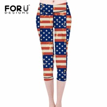 FORUDESIGNS 2017 3D American Flag Pattern Women Leggings Casual Soft Panty for Ladies Slim fit Trousers Summer Work-out Leggings