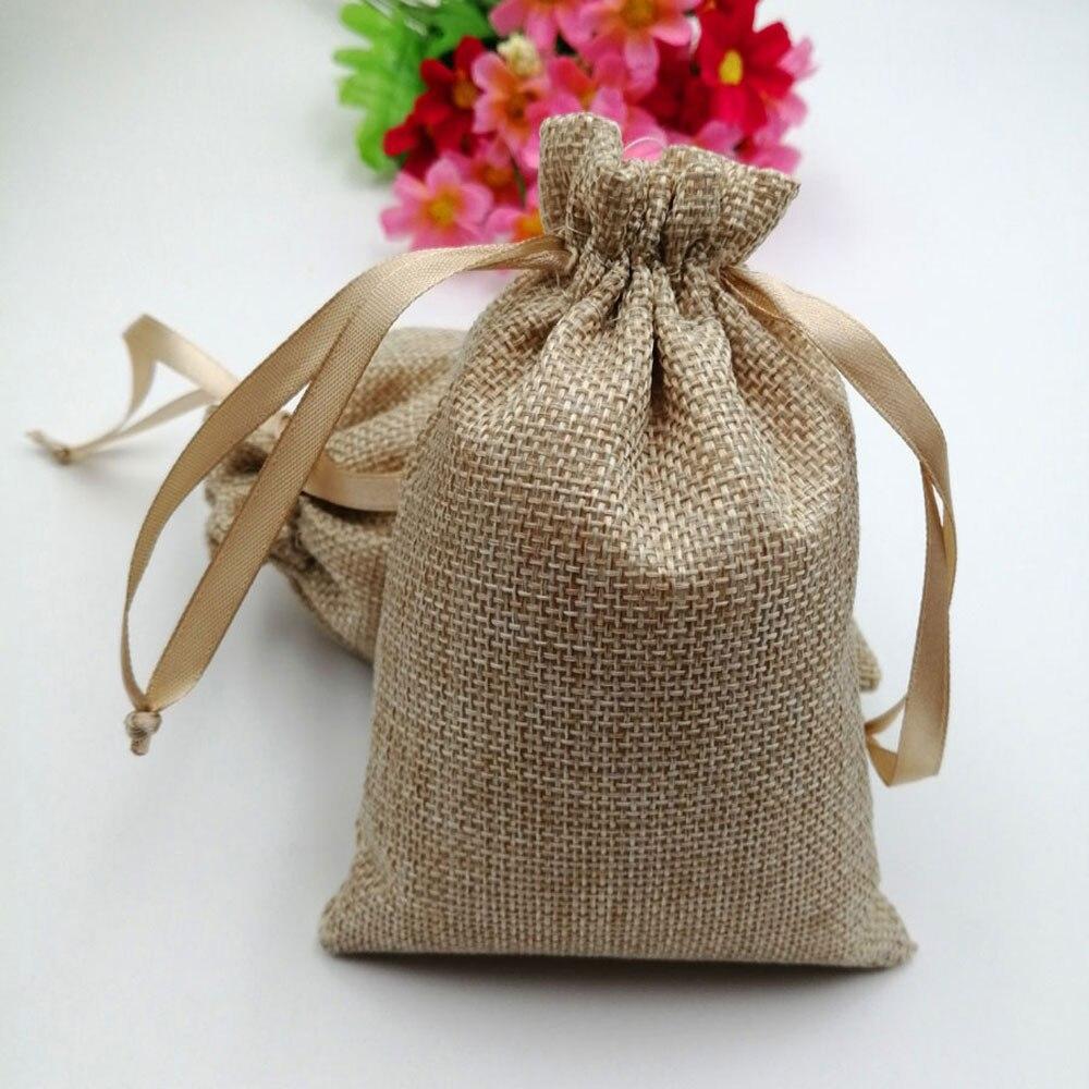 100 pcs/lot RUIHAOYU naturel lin cadeau sacs de mariage bonbons faveur poche Jute cordon cadeau sacs bijoux sac emballage sac-in Sacs-cadeaux et emballages from Maison & Animalerie    1