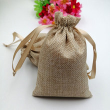 100pcs/lot RUIHAOYU Natural  Linen Gift Bags Wedding Party Candy Favor Pouch Jute Drawstring Jewelry Bag Packaging