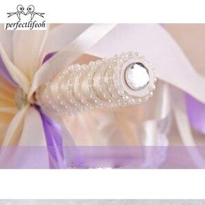 Image 4 - Perfectlifeoh bonito roxo buquê de casamento todos os buquês de casamento de flores de noiva pérolas artificiais flor rosa ramos de novia