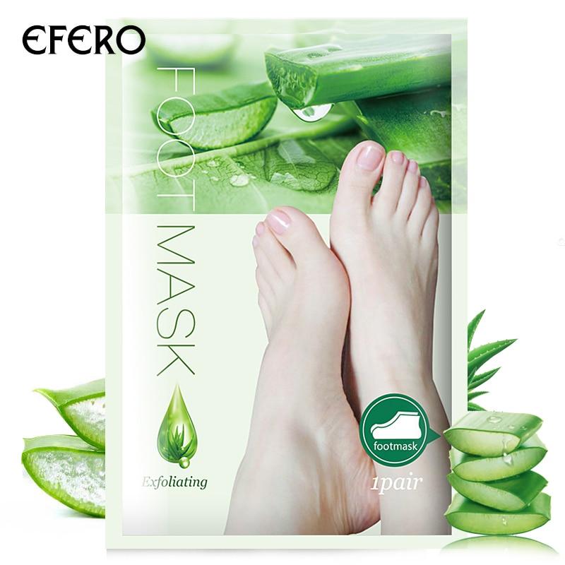 efero 2Pcs=1Pair Aloe Peeling Foot Mask for Legs Feet Mask Exfoliating Socks for Pedicure Anti Crack Heel Remove Skin Foot Patch 4