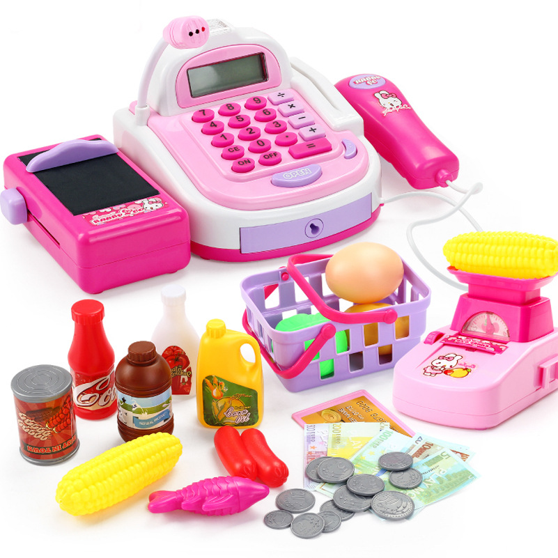 Children's pretend play can be swiped scanning amplifier calculation simulation supermarket checkout set groceries toys