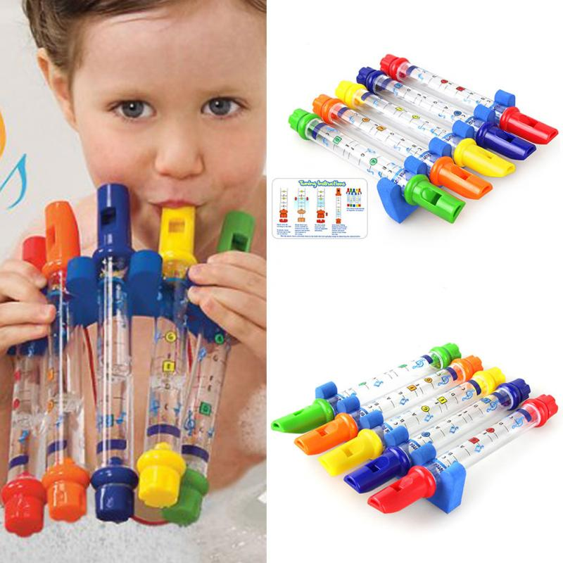 5 pcs/set New Kids Children Colorful Water Flutes Tub Tunes Music Fun Playing Musical Sounds Toys Gift Intellectual Development
