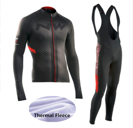 Winter Thermal Fleece NW Cycling Jersey Long Sleeves Warm Ropa Ciclismo Maillot MTB Bicycle Clothing Bike Clothes -DD67