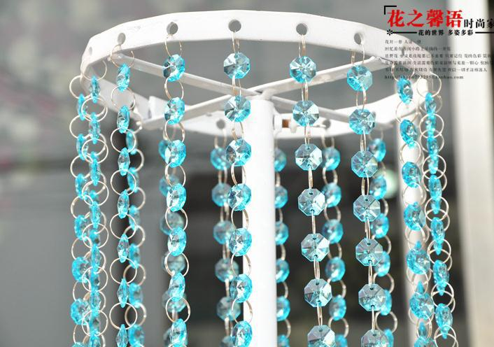 party decoration 50M/lot,7colors  clear acrylic octagonal crystal beaded garland strands chains of wedding chandelier hanging