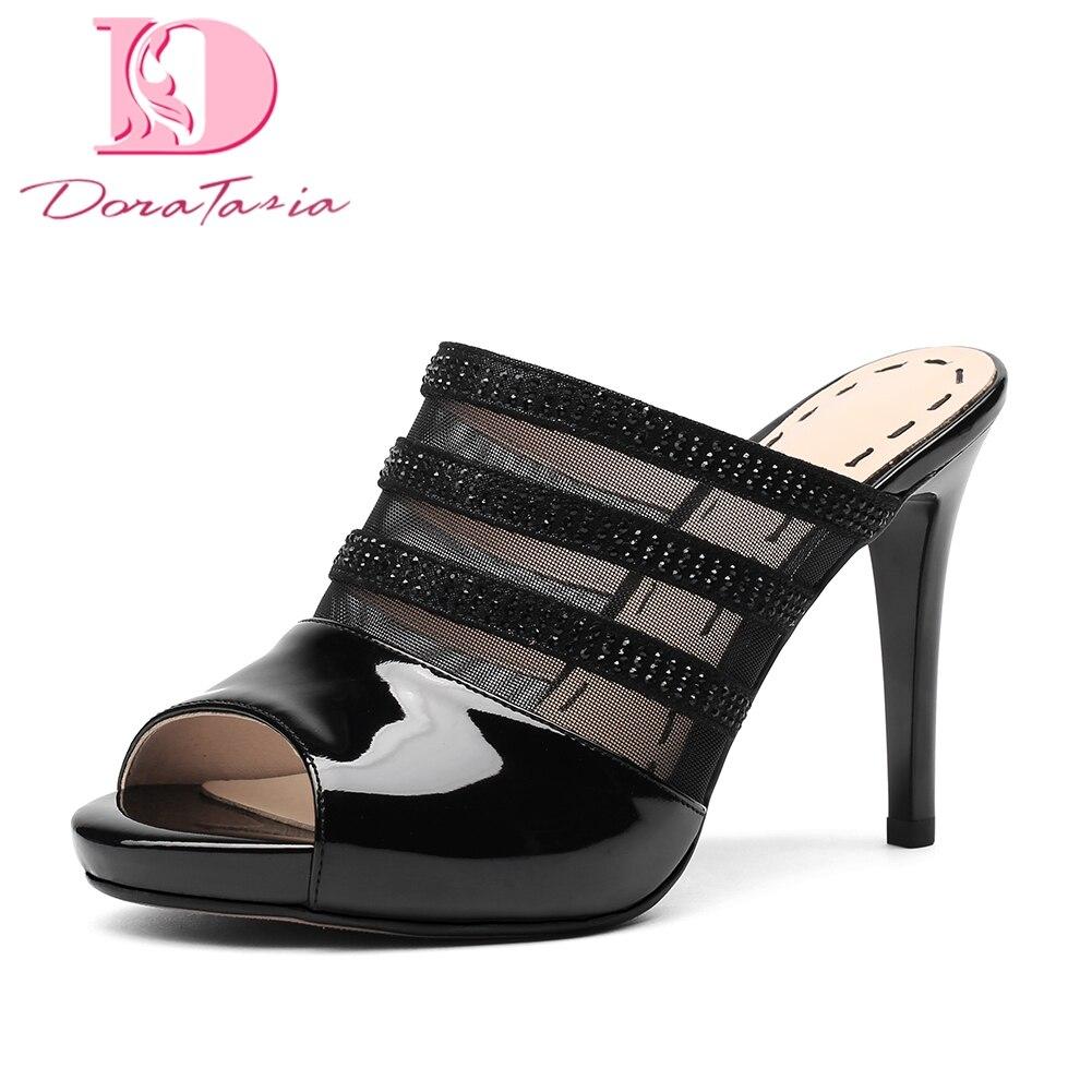 Apricot En Creux Mince Parti Femmes Chaussures Peep Plate 2018 Doratasia Pompes noir Cuir D'été Mules Haute Talons forme Femme Toe Véritable 80nwOvmN