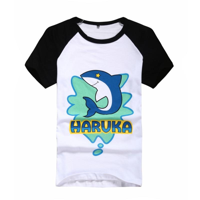 2Colors Free! Iwatobi Club Nanase Haruka Tachibana Makoto Short Sleeve T-shirt Cosplay Costume Daily Tees Casual Tee Shirt