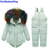 Russia Winter Kids Snowsuit Girls Jacket+Jumpsuit Baby White Duck Down Overall Children Real Raccoon Fur Hooded Boys Ski Suit