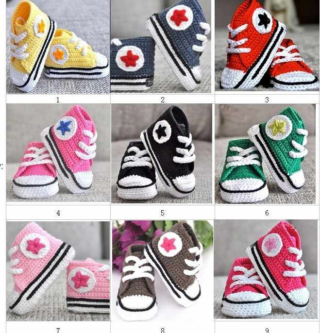 QYFLYXUE- 	Baby crochet sneakers first walk shoes kids sport handmade tennis booties cotton 0-12M 10pairs/lot custom
