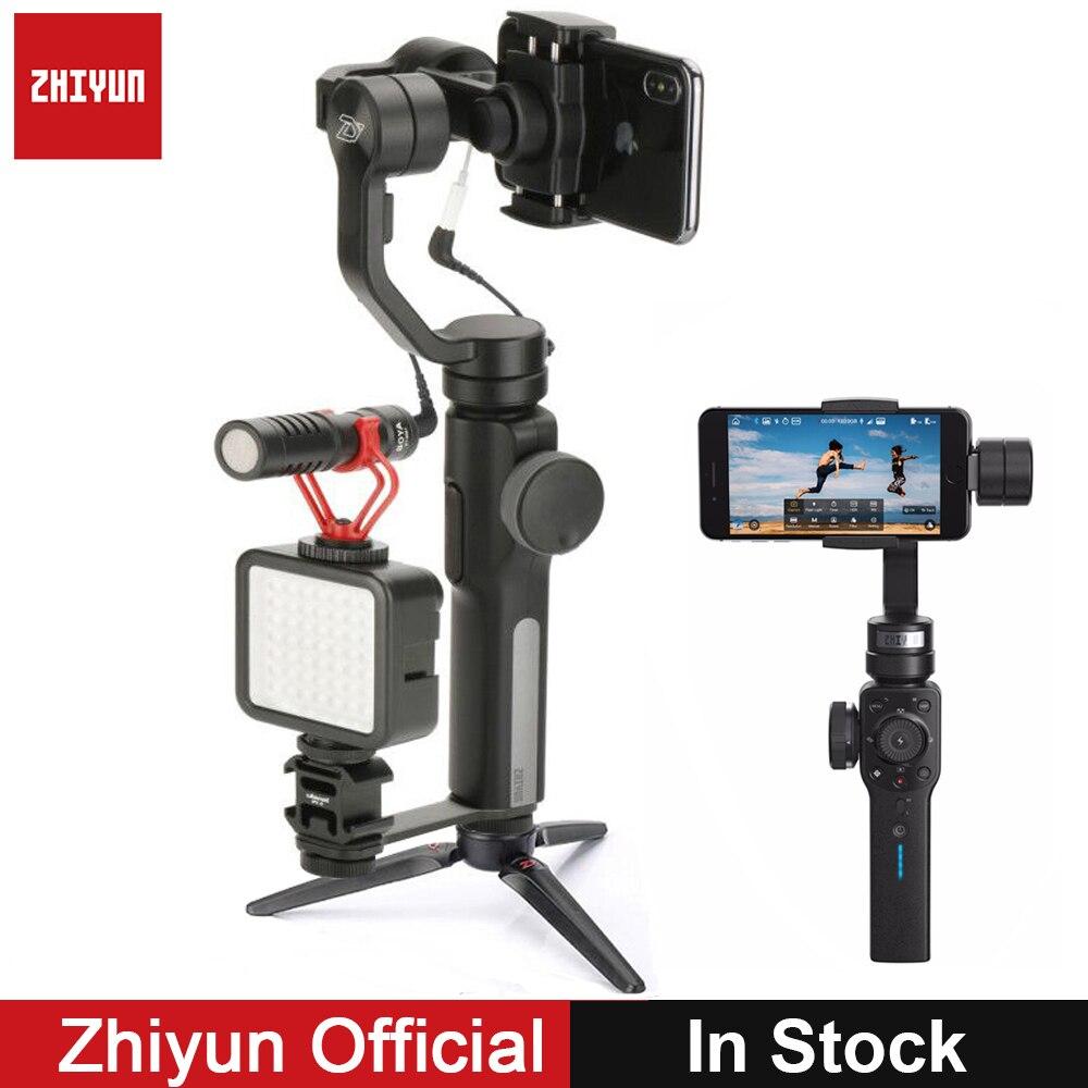 Zhiyun 4 Suave Suave Q 3-Eixo Cardan Estabilizador w BY-MM1 Boya Microfone para iPhone Samsung Xiaomi S9 S8 VS DJI OSMO 2 Móvel