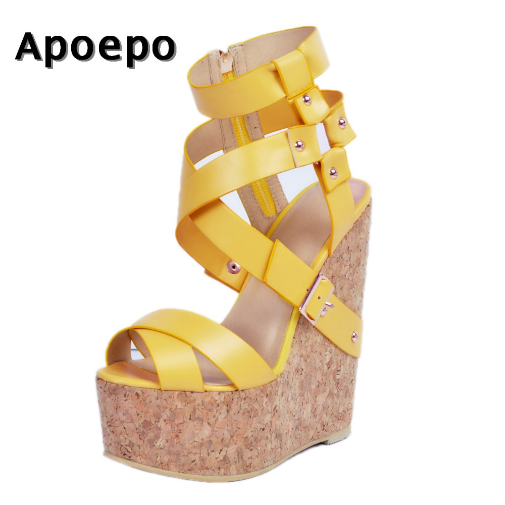 New Newest Platform Wedge Sandal for Woman 2018 summer peep toe ankle strap shoes super high big size club wear heels apoepo fashion patent leather wedge sandal for woman super high ankle strap platform shoes rope braided buckle strap summer shoe