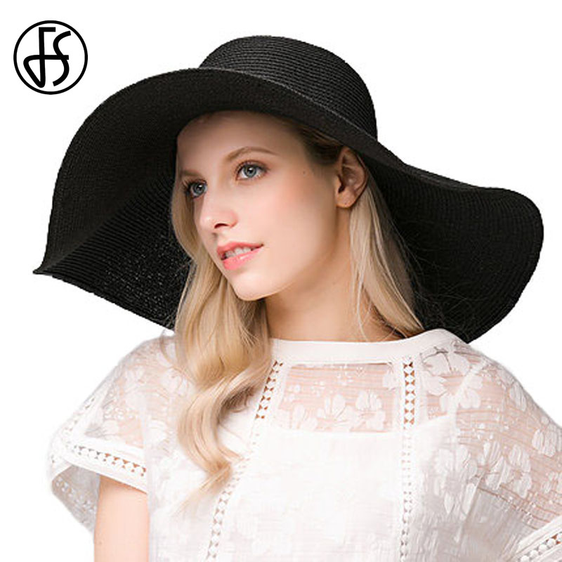 FS mujeres Sombreros moda de verano sombreros de paja para las mujeres  grande ancho BRIM Floppy Beach sombreros chapeu feminino Sol sombreros en  Sombreros ... c31cae8d9de
