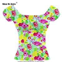 When We Retro Vintage Womens Tops TP204 2019 Green Blue Fruit Flamingo Print Ladies Short Sleeve Summer T Shirt