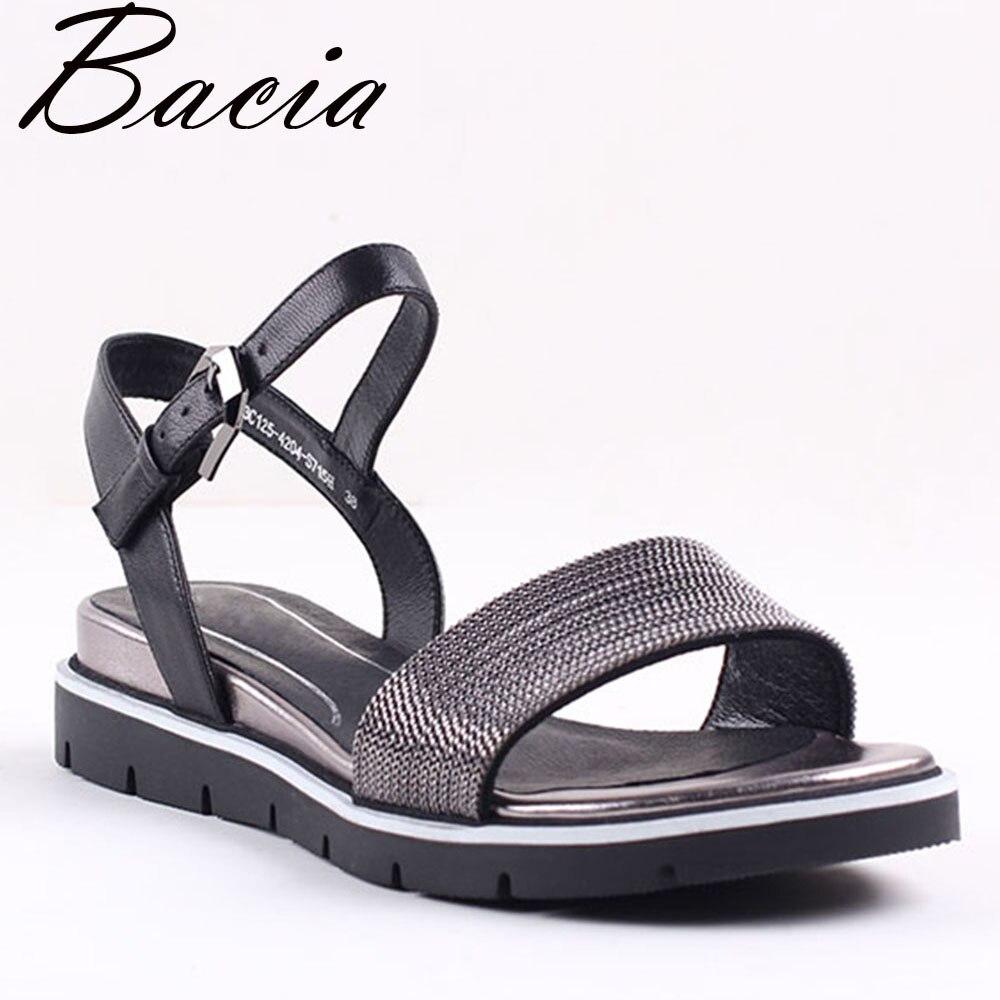 a735f97eb8 Bacia New 2017 Sandálias de Pele de Ovelha Moda Lichia patern couro Preto  Sapatos De Couro de Verão Sapatos de Salto Baixo Cunhas 35 41 VXA025 em  Sandálias ...