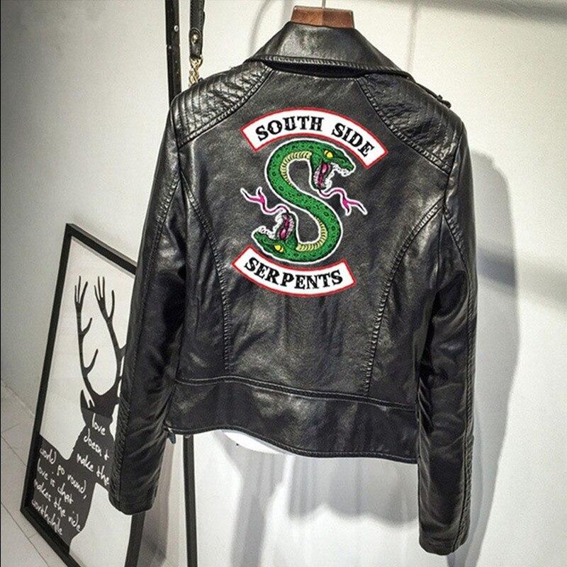women Riverdale south side serpents jacket PU Leather Streetwear Leather Brand outwear Streetwear Leather Brand Coat