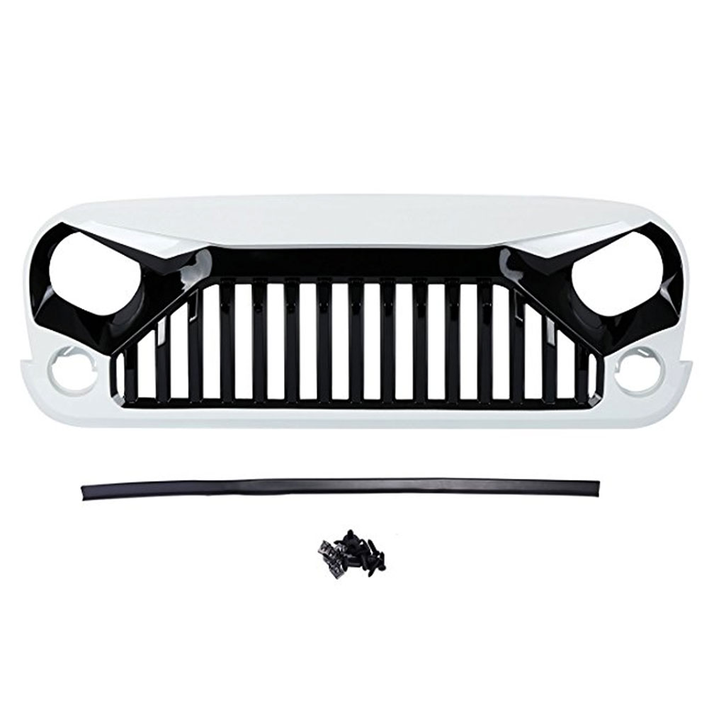 For Jeep Wrangler JK Rubicon Sahara Sport Front Grille Grill 2007 2008 2009 2010 2011 2012 2013 2014 2015 2016 2017 Automible front grill mesh grill insert set cover front grille sticker racing grills trim for jeep wrangler jk 2007 2015