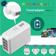 NEW High Quality High efficiency & low energy 4 USB Ports UK Plug AC Power Travel Home Wall Charger Adapter For mobile phone/PC