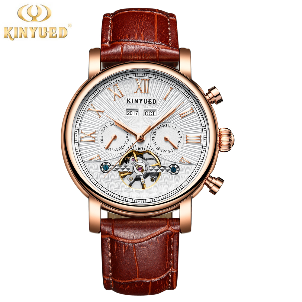 KINYUED Skeleton Watch Men Tourbillon Perpetual Calendar Automatic Mens Mechanical Watches Multifuntional Relogio Masculino 2018 forsining automatic tourbillon men watch roman numerals with diamonds mechanical watches relogio automatico masculino mens clock