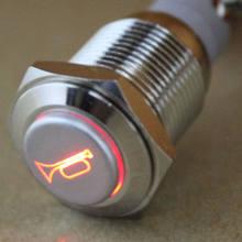 Soporte de EE. UU. 19mm 12V botón pulsador momentáneo de coche interruptor de Metal LED rojo coche barco altavoz campana cuerno coche estilo