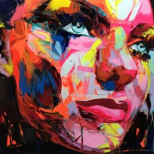 Hand Painted abstract Francoise Nielly designer Cool face Art Untitled Oil Painting Canvens Bedroom hallway Artwork Fine