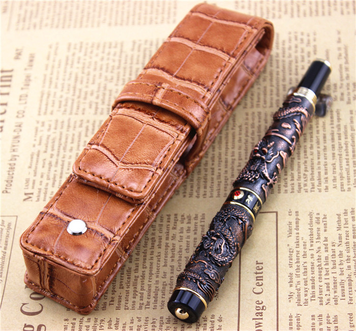 send a refill ballpoint Pen metal School Office supplies dragon roller ball pens high quality luxury business gift 005 white jinhao ballpoint pen and pen bag school office stationery roller ball pens men women business gift send a refill 012