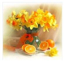 Round Diamond mosaic yellow flower oranage Diamond Embroidery flower diy Diamond painting flower mosaic picture pastes