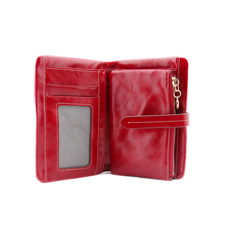 Vintage Oil Wax Genuine Leather Wallet Women Zipper Design With Coin Purse Pockets Luxury Brand Mini Travel Wallet For Ladies 2016 brand design high quality women genuine leather vintage wallet cowhide coin purse oil waxing purses zipper pocket wallets
